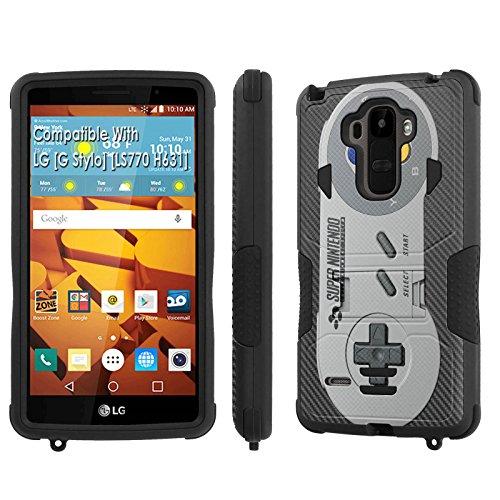 LG [G Stylo] Tough Case [SlickCandy] [Black/Black] Hybrid Combat [Kick Stand] [Shock Proof] Phone Case - [Super Nintendo Controller] for LG [G Stylo] [LS770 H631] -  P-LGLS770-1E1-BKBK-VRI-P067C