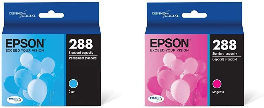 Epson T288220-S T288220 DURABrite Ultra Cyan Standard Capacity Cartridge Ink & T288320-S DURABrite Ultra Magenta Standard Capacity Cartridge Ink