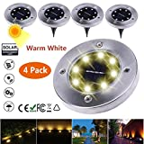 Solar Ground Lights Outdoor- IHOMKIT 8LED Solar Garden Pathway Lights Waterproof In-Ground Outdoor Landscape Lighting for Lawn Patio Yard Deck Walkway- Warm White (4 PACK) Review