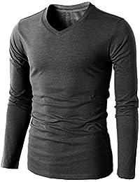 Mens Casual Premium Soft Cotton Long Sleeve V-neck T-Shirts