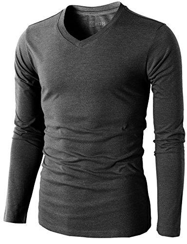 H2H Mens Casual Slim Fit Long Sleeve V-neck