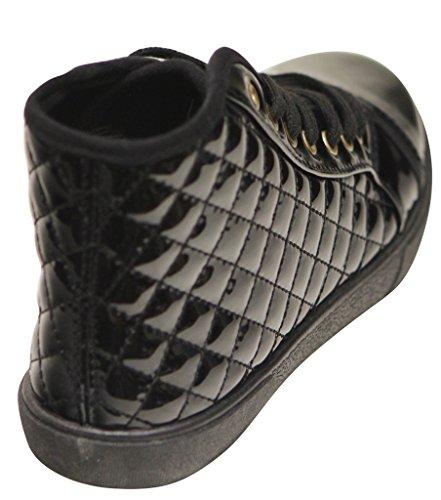 Qupid Reeve-01 Mode Confort Sport Métallisé Vamp Lace Up Cuir Verni Haut Top Sneakers Matelassé Noir