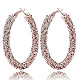 Miraculous Garden Women Fashion Rose Gold Plated Alloy Twist Crystal Rhinestone Cubic Zirconia Gratuated Hypoallergenic Round Pierced Hoop Earrings Jewelry for Mother's Day (Orange)