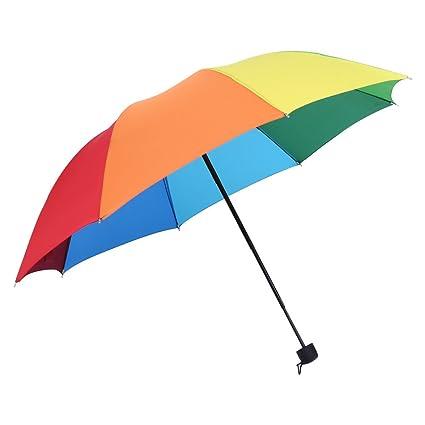 GLOGLOW - Paraguas de Arcoíris (1 Pieza, 3 Paraguas Plegables, Duradero, Resistente
