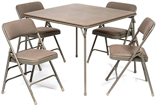 5pc. XL Series Folding Card Table and Triple Braced Fabric Padded Chair Set, Commercial Quality, Beige (And Sets Table Chair Card)