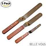 """Offset Icing Spatula Set with Wood Handle - 3 Piece Stainless Steel Angled Flexible Blade - Professional Cake Decorating Tool 4"""",6"""",8"""" By Belle Vous"""