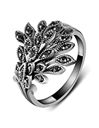 Yfnfxl Womens Antique Black Marcasite Rhinestone Crystal Vintage Leaves Statement Cocktail Rings