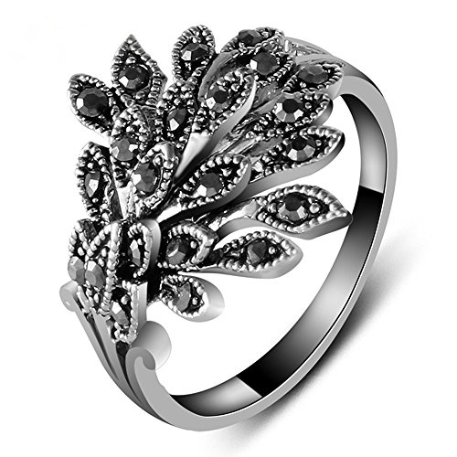 Leaf Ring Marcasite (Yfnfxl Womens Antique Black Marcasite Rhinestone Crystal Vintage Leaves Statement Cocktail Rings)
