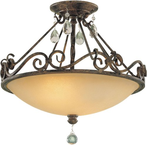 "Feiss SF190MBZ Chateau Crystal Semi Flush Ceiling Lighting, Bronze, 2-Light (16""Dia x 13""H) 200watts"