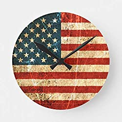 EnjoyHome Scratched and Worn Vintage American Flag Wooden Clocks for Walls French Style for Kids Bedroom Kitchen Living Room Decoration 12 inches