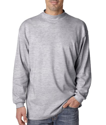 UltraClub Men's Egyptian Interlock Cotton Long-Sleeve Mock Turtleneck. 8510 - Large - Heather Grey ()