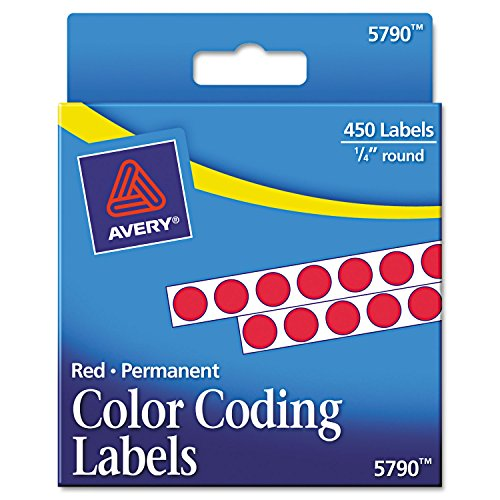 Avery Consumer Products Products - Permanent Round Labels, 1/4amp;quot; Diameter, 450/PK, Red - Sold as 1 PK - Round color-coding labels are ideal for document and inventory control, routing, organizing, highlighting, price marking, scheduling, and more.