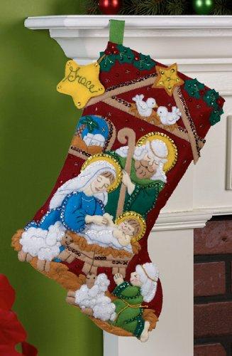 Bucilla 18-Inch Christmas Stocking Felt Applique Kit, 86449 Nativity by Bucilla