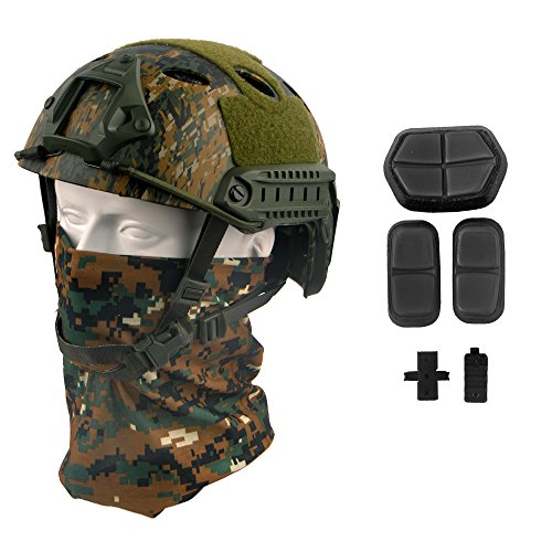 LOOGU Fast PJ Base Jump Military Helmet with 12-in-1 Headwear(AOR2)