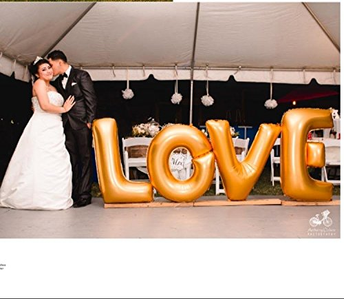 Ruimeier Love (40 Inch) and''I do'' Diamond Ring (27 Inch) Extra Large Balloon Set, Independence Day, Festival, Romantic Wedding, Bridal Shower, Anniversary, Party Decor, Vow Renewal (Golden) H007 by Ruimeier (Image #2)