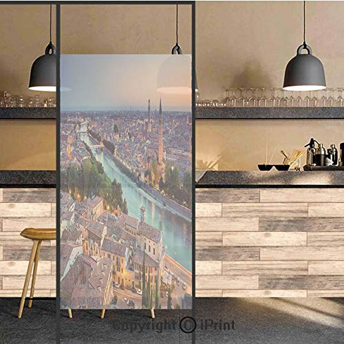 3D Decorative Privacy Window Films,Verona Italy During Summer Sunset Blue Hour Adige River Medieval Historcal,No-Glue Self Static Cling Glass film for Home Bedroom Bathroom Kitchen Office 17.5x71 Inch