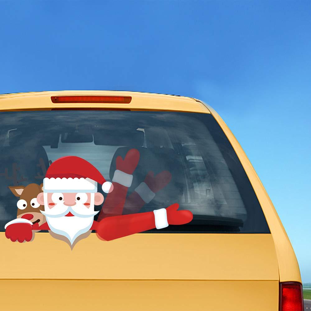 VOVOIR Etiqueta engomada del limpiaparabrisas Trasero de Navidad de Papá Noel Pegatinas de PVC del limpiaparabrisas Trasero para la decoración del Coche de ...