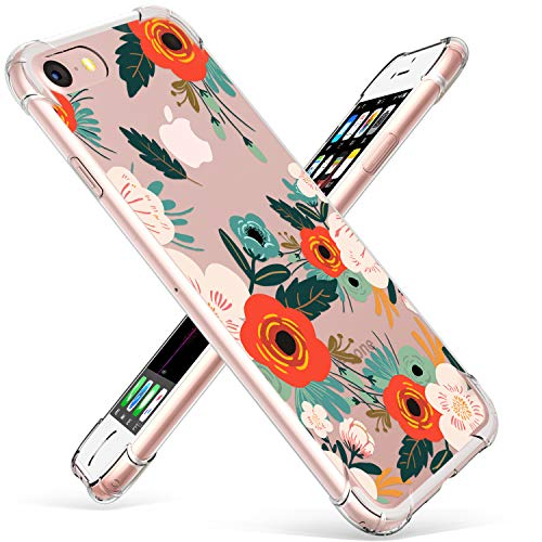 GVIEWIN Clear Flower Designed for iPhone 8 Case/iPhone 7 Case, Soft TPU Silicone Ultra-Thin Slim Fit Transparent Flowers Cover (Flowering/Reseda Green)