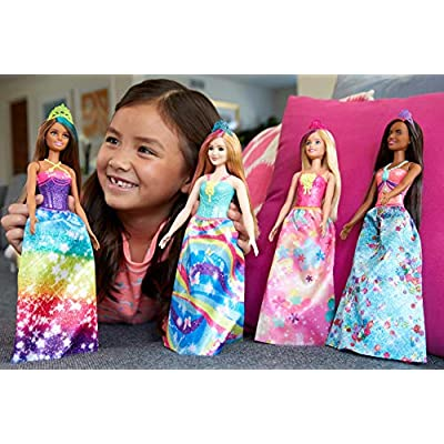 Barbie Dreamtopia Princess Doll, 12-Inch, Brunette with Pink Hairstreak Wearing Blue Skirt and Tiara, for 3 to 7 Year Olds: Toys & Games