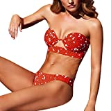 AOmahh Women's Hard Printed Stitching Solid Color Sexy Split Bikini Swimsuit Two-Piece Suit Red