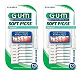 Sunstar GUM Soft-picks In On-The-Go Case, 120 Count (Pack of 2)
