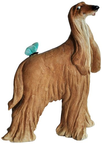 Top Collection Miniature Fairy Garden and Terrarium Afghan Hound with Butterfly Statue