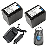 Amsahr S-VWVBK360-2CT Digital Replacement Battery Plus Travel Charger for Panasonic VW VBK360 with Lens Accessories Pouch, Pack of 2 (Gray)