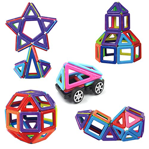 Magnetic Building Blocks Toys Set Preschool Educational Stacking Toy 76 Pieces 3D Magnet Building Construction Kit for Kids Over 3 Years Old