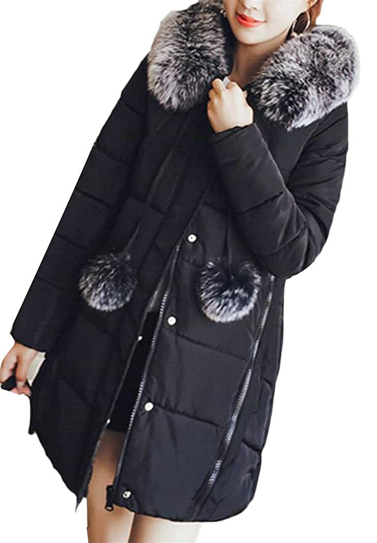 Black XiaoTianXinWomen XTX Women Faux Fur Hooded Parkas A Line Quilted Fall Winter Outer Wear Down Jacket