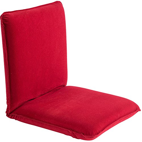 Sundale Outdoor Indoor Adjustable Soft-Brushed Polyester Cord Five-Position Multiangle Floor Chair, 17.5'(L) x 17'(W) x 17.5'(H), Red
