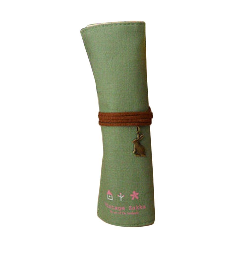 Cosanter matita della laminati tela retro design portachiavi ciondolo per trucco, sacchetto per donne (verde)