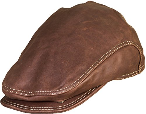 Allen Leather Ivy Cap, Camel, Size Large (7 1/4-7 3/8) by Overland Sheepskin Co