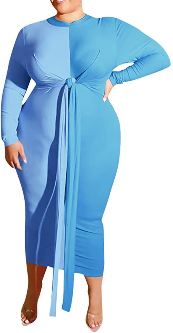Sgyh Womens Oversized Colorblock Bandage Tight Crewneck Long Sleeve Long Dress Fat Women Evening Prom Dresses Amazon Ca Clothing Accessories