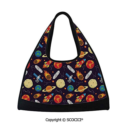 Table tennis bag,Universe Themed Illustration with Earth Moon Constellations Saturn Rockets Stars Decorative,Bag for Women and Men(18.5x6.7x20 in) Multicolor (Distance From Earth To Moon In Inches)