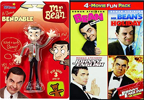 The incomparable Rowan Atkinson stars in the 4 Comedy Pack Mr. Bean's Holiday / Bean The Movie / Spy Johnny English / Reborn + Funny Man Bendable Silly Toy Figure (Bendable Collector)