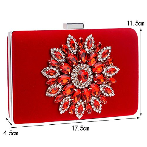 Women Beading Evening Clutch Rhinestone Wedding with Bags Black KYS Handbag Bag Satin Event for Evening Crystal Party dqUxFwYg