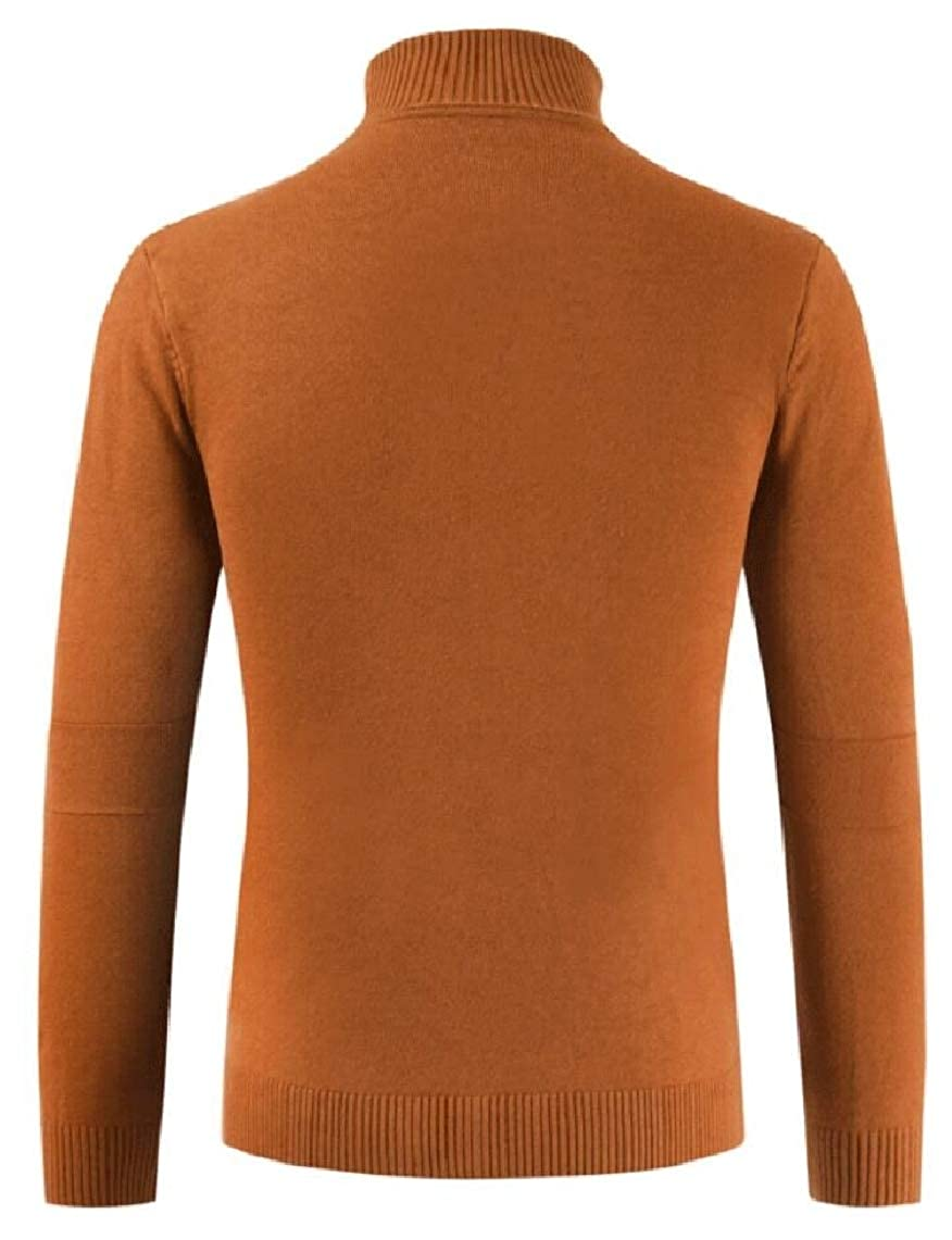Yayu Mens Knitwear Solid Fall Turtleneck Knitting Stretchy Pullover Sweaters