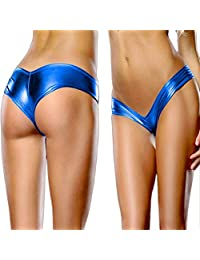 Vertily Underwear Women Bare Imitation Leather Lingerie Sexy Bikini Thongs Pants