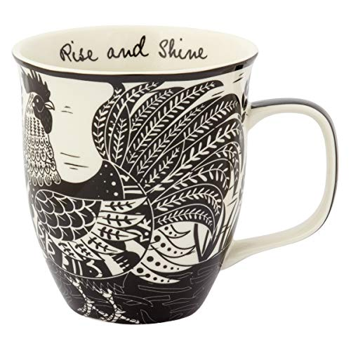 Karma Gifts Boho Black And White Mug, Rooster