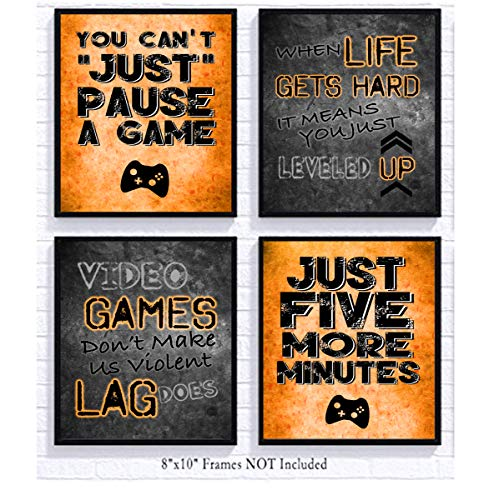 Video Game Themed Art Print Room Wall Decoration (Set or Four) Gamer - Goose Game Call