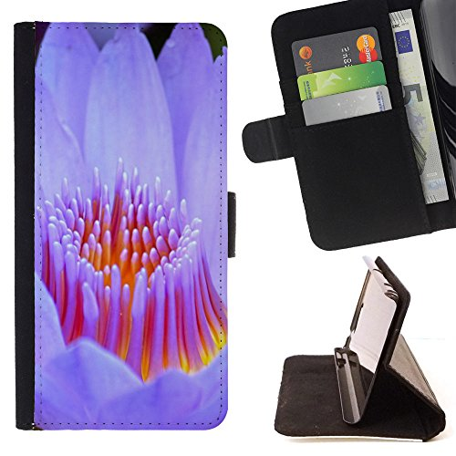 God Garden - FOR Apple Iphone 6 - Lotus - Glitter Teal Purple Sparkling Watercolor Personalized Design Custom Style PU Leather Case Wallet Fli
