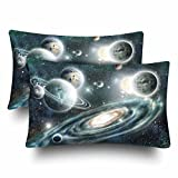 InterestPrint Alien Planets Solar System Backdrop Spiral Galaxy Pillow Cases Pillowcase Standard Size 20x30 Set of 2, Rectangle Pillow Covers Protector for Home Couch Sofa Bedding Decorative