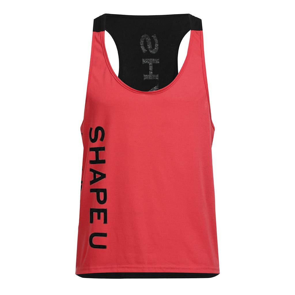 SUCCESS Fitness Muscle Shirt da Uomo Muscle Gym Confortevole Gilet Traspirante Moda Uomo Patchwork Bicolore Bodybuilding Canotta Sciolto Top da Uomo