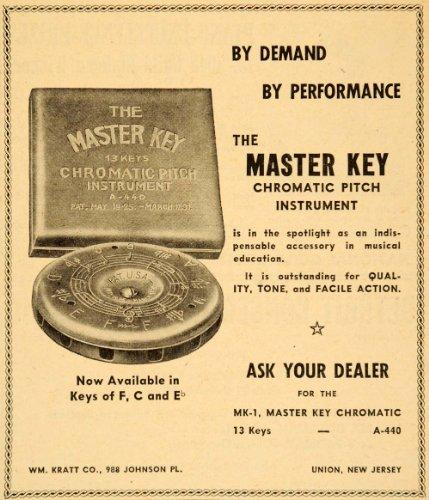 1948 Ad Master Key Chromatic Pitch Instrument Keys F C - Original Print Ad (Wall Atic)
