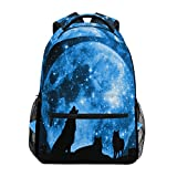 TropicalLife Galaxy Moon Night Wolf Backpacks School Bookbag Shoulder Backpack Hiking Travel Daypack Casual Bags