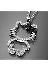 Hello Kitty Figure Necklace Pendant Bowknot Silver