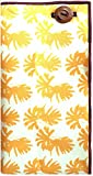 Yellow & White Print with Brown Button Men's Pocket Square by The Detailed Male