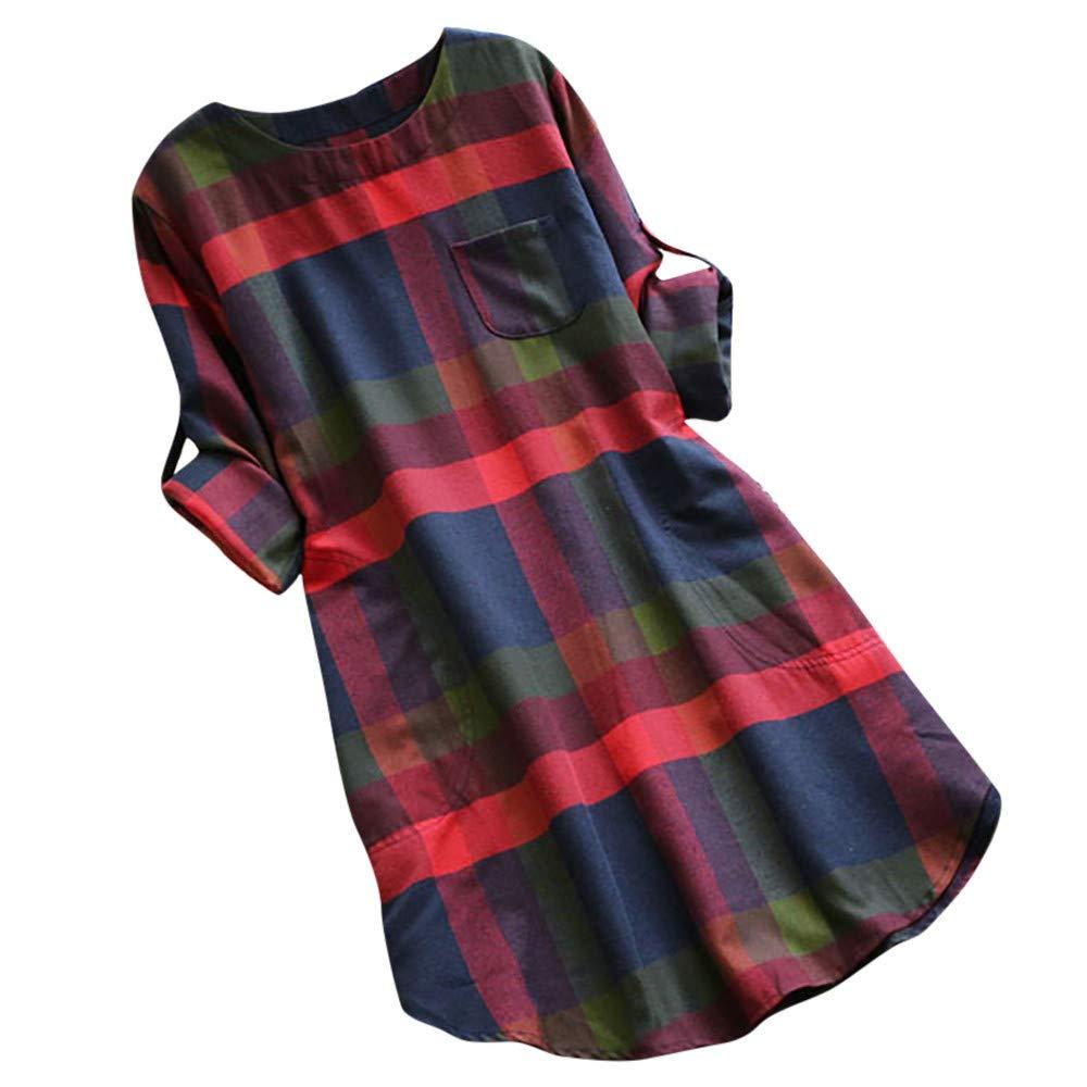HWTOP Kleider Damen Minikleider Grosse Grö ssen Shirt Kleid Elegant Blusenkleid Langarmshirt Bluse mit Taschen Oversize Kariertes Strandkleid Frauen Cocktailkleid Abendkleid