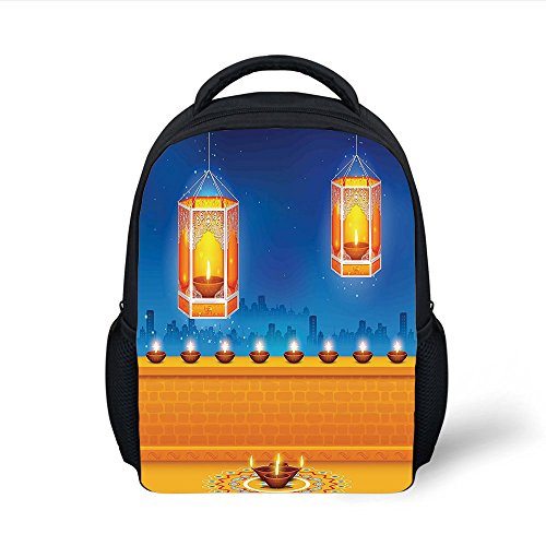 iPrint Kids School Backpack Diwali,Religious Celebration of East Artwork with Lights Candles and Night Scenery Print Decorative,Multicolor Plain Bookbag Travel Daypack by iPrint