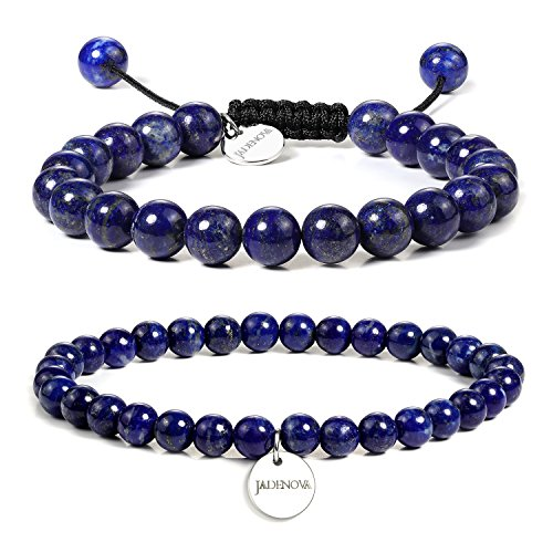JADENOVA 6/8mm Natural Lapis Lazuli Gemstone Bracelets Round Beads Stretch Bracelet Adjustable Beaded Bracelet Couple Distance Bracelets Unisex (2pcs Bracelet Set)